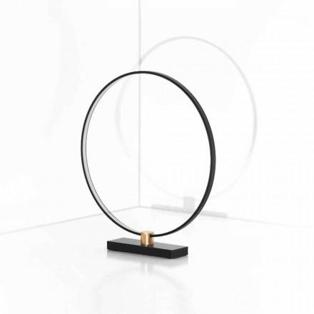 Designová stolní lampa z černého hliníku a mosazi vyrobená v Itálii - Norma