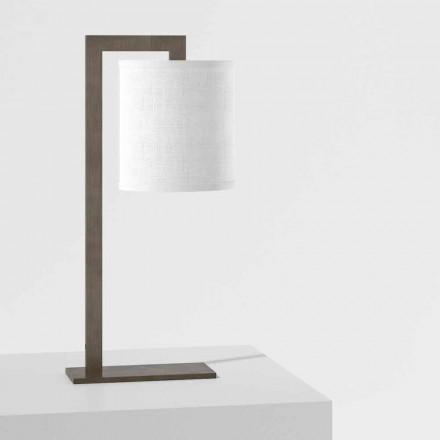 Designová stolní lampa z kovu a bílého plátna vyrobená v Itálii - Bali