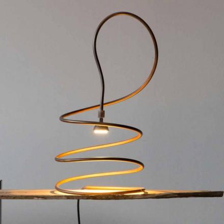 Designová stolní lampa v efektu měděné leštěné vyrobené v Itálii - Fusillo