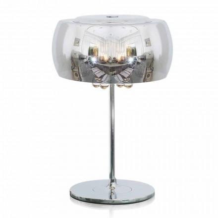 Designová stolní lampa ze skla, křišťálu a chromovaného kovu - kambrie