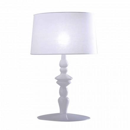 Stolní lampa v bílé keramické a lněné stínítku 2 Rozměry - Cadabra