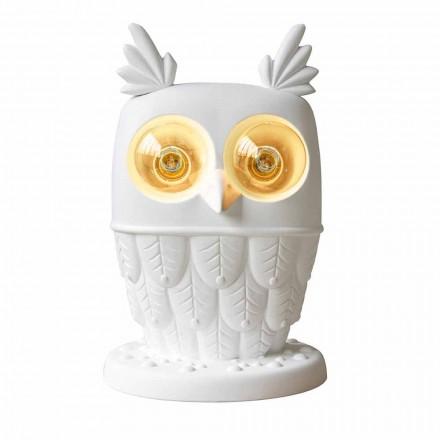 Stolní lampa v matně bílé keramice 2 světla Moderní designová sova - sova