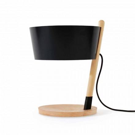 Stolní lampa z buku s detaily z kovu a veganské kůže - Avetta