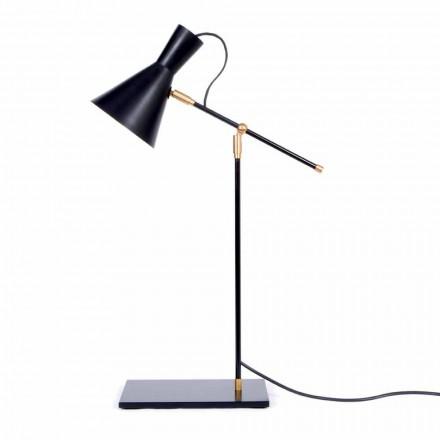 Stolní lampa v železné a hliníkové matně černé barvě vyrobené v Itálii - Malita