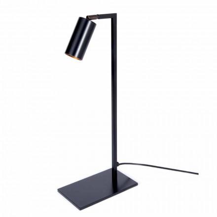 Stolní lampa ze železa a matně černého hliníku s LED diodou Made in Italy - Agio