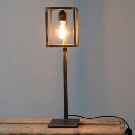 Černá železná stolní lampa s bavlněným kabelem vyrobená v Itálii - jedinečná
