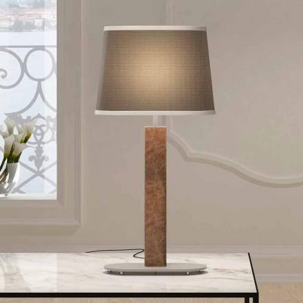 Kovová stolní lampa s látkovým stínidlem vyrobené v Itálii - skok