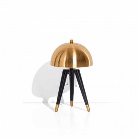 Stolní lampa z černého kovu a kartáčované mosazi vyrobené v Itálii - Peter