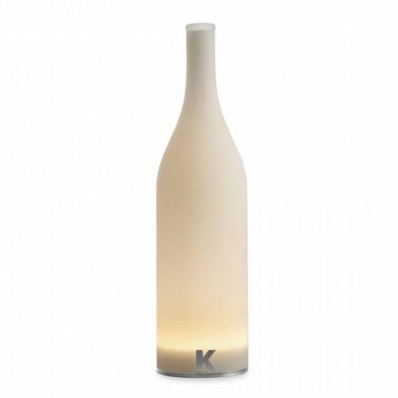 LED stolní lampa v bílém matném skle moderního designu - láhev