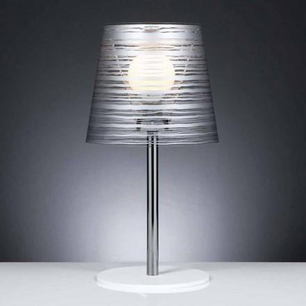 Současná stolní lampa se stříbrnou dekorací, průměr 30 cm, Shana