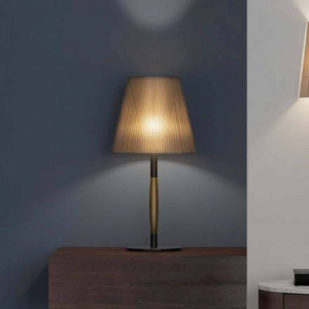 Moderní stolní lampa z kovu, dřeva a organzy vyrobené v Itálii - výložník