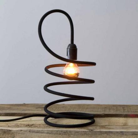 Moderní stolní lampa v mědi potažená bavlnou vyrobená v Itálii - Fusilla