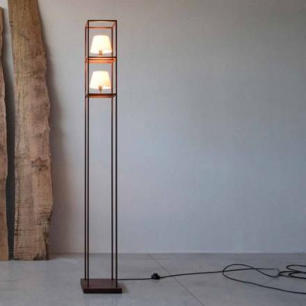 Ručně vyrobená železná podlahová lampa Corten Finish Made in Italy - Tower