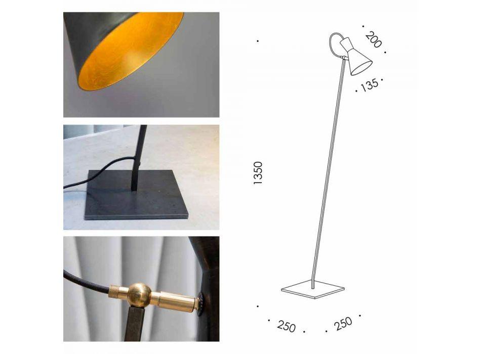 Artisan stojací lampa z černého železa a hliníku vyrobená v Itálii - Brema