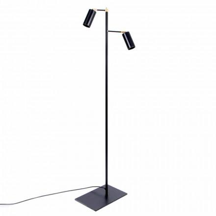 Černá ručně vyráběná stojací lampa s mosaznými detaily vyrobená v Itálii - Asterix