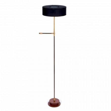 Stojací lampa s ručně vyrobeným černým plátěným odstínem vyrobené v Itálii - Aurelia