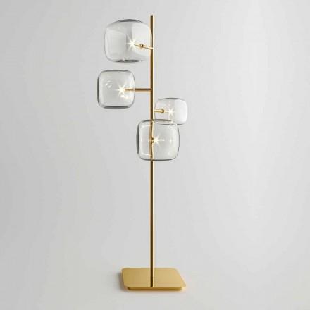 Designová stojací lampa s lesklou kovovou strukturou vyrobená v Itálii - Donatina