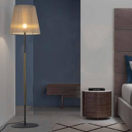 Designová lampa z kovu, dřeva a organzy vyrobené v Itálii - výložník