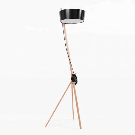 Stojací lampa ze dřeva a kovu s detaily ve veganské kůži - Avetta
