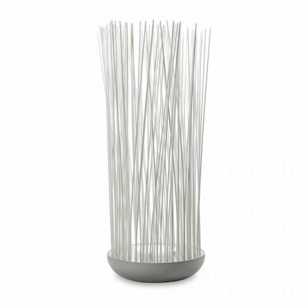 LED stojací lampa v šedém technopolymeru a bílých PVC tyčích - Touch