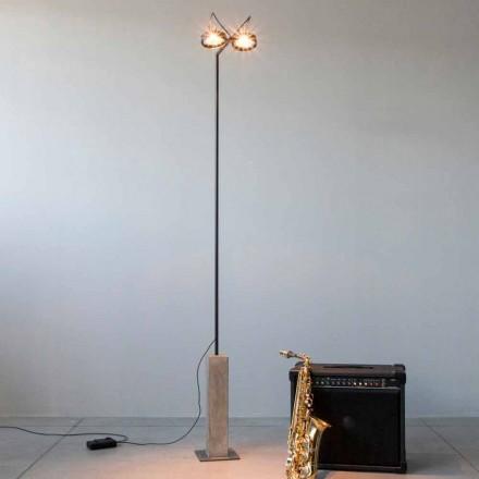 Železná stojací lampa s cementovou základnou vyrobená v Itálii - Wink