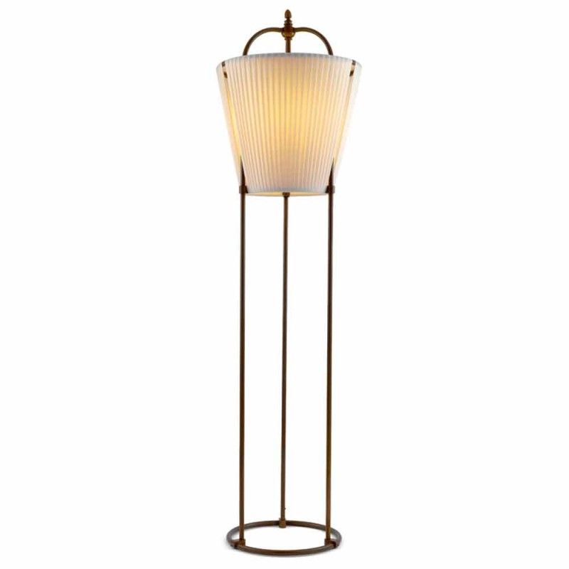 Stojací lampa Tenarunga, staromosaz, 1 světelný