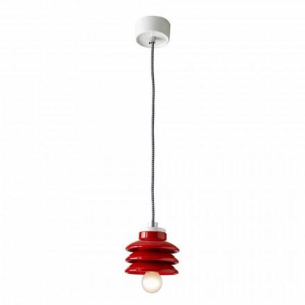 Designové závěsné svítidlo v červené keramice vyrobené v Itálii v Itálii