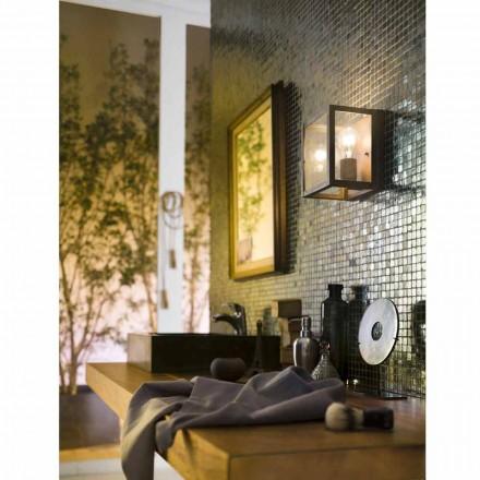 Průmyslová lampa z mosazi a skleněnou deskou Světlo