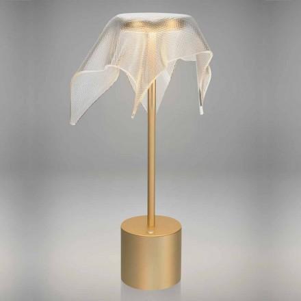 LED lampa z barevného kovu a průhledného hranolového plexiskla - Tagalong