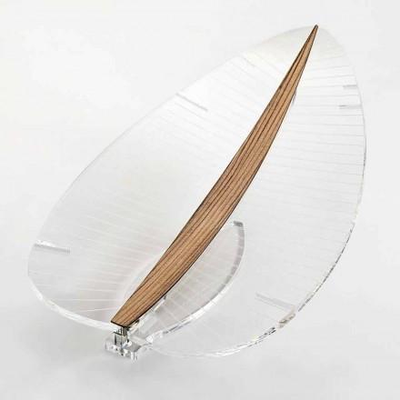 LED lampa v průhledném plexiskle, zlatě stříbrném nebo designovém dřevě - Foglialamp