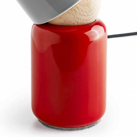 Moderní stolní lampa z keramického a bukového dřeva vyrobená v Itálii