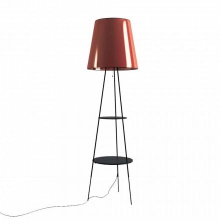 Stojací lampa v černé a měděné barvě s USB zásuvkou vyrobená v Itálii - Dixie