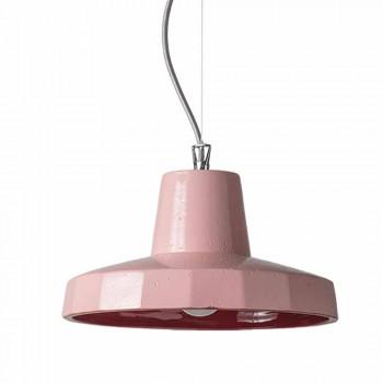 Závěsná lampa 30 cm, v mosazi a toskánské majolice, Rossi Toscot