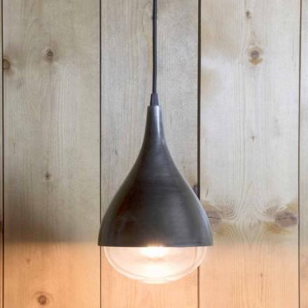 Ručně vyrobená závěsná lampa z hliníku a černé bavlny vyrobená v Itálii - Sissa