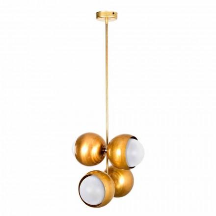 Ručně vyrobená závěsná lampa z přírodní mosazi a skla vyrobená v Itálii - Gandia