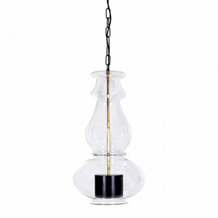 Ručně vyrobená závěsná lampa z foukaného skla a mosazi vyrobená v Itálii - Vitrea
