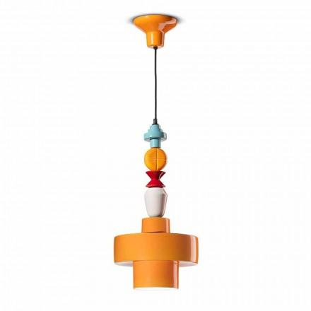 Závěsná lampa žlutá nebo zelená keramická Vyrobeno v Itálii Design - Ferroluce Lariat