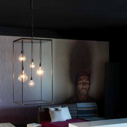 Závěsná lampa s ručně vyrobenou železnou konstrukcí vyrobenou v Itálii - Cosma
