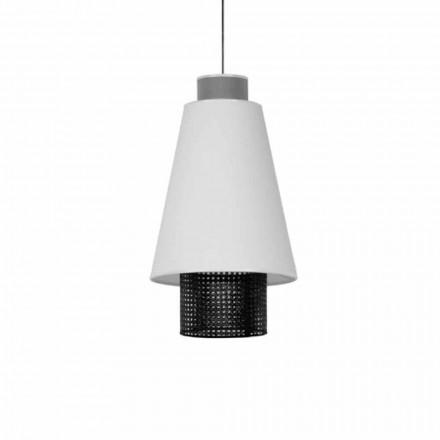 Závěsná lampa s moderním designem v látce a ratanu vyrobená v Itálii - námořník