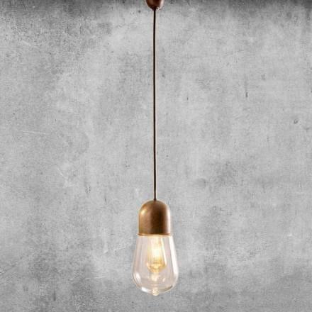 Vintage design závěsná lampa v mosazi a skle - Aldo Bernardi Guinguette
