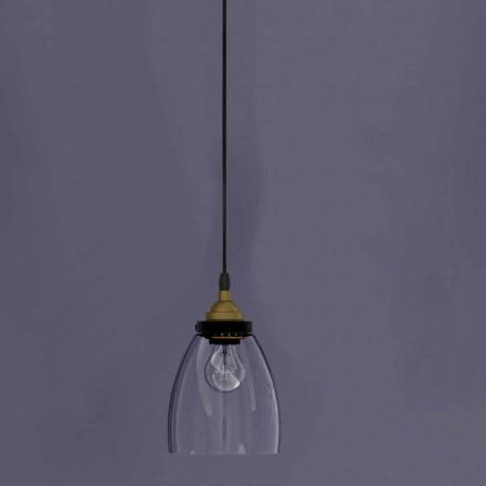 Designová závěsná lampa z kovu a průhledného skla vyrobená v Itálii - Clizia