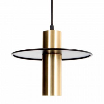 Ručně vyrobená závěsná lampa ze železa a mosazi s LED diodou Made in Italy - Astio