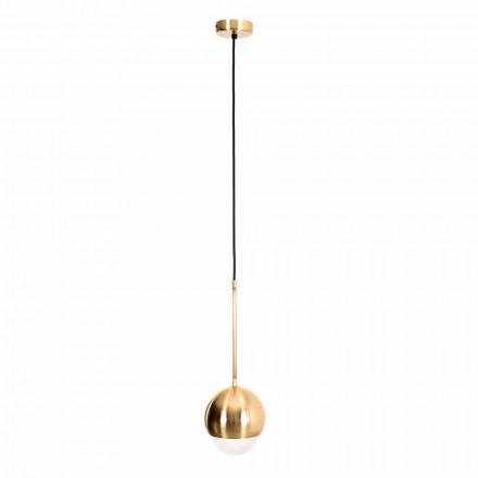 Ručně vyrobená závěsná lampa z mosazi a dekorativního skla vyrobená v Itálii - Gandia