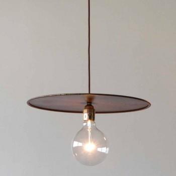 Závěsná železná lampa s řemeslnou bavlněnou šňůrou vyrobené v Itálii - Ufo