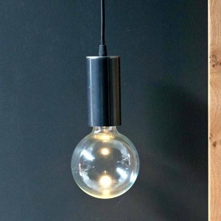 Závěsná lampa ze železa a skla s bavlněným kabelem vyrobená v Itálii - Ampolla