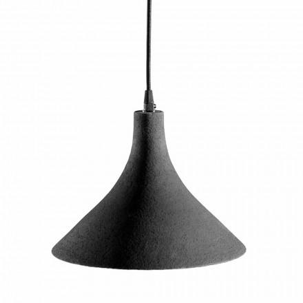 Závěsná lampa v antracitové kameniny a bílém interiéru s moderním designem - Edmondo