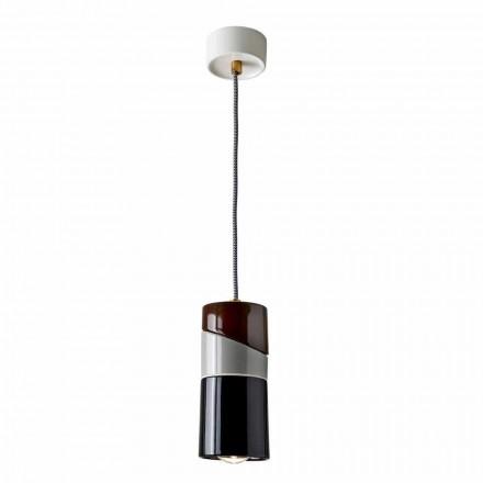 Závěsná lampa z mosazi a moderní barevná keramika vyrobená v Itálii v Itálii