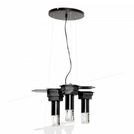 Moderní závěsná lampa z matného černého kovu a plexiskla vyrobená v Itálii - Dalbo