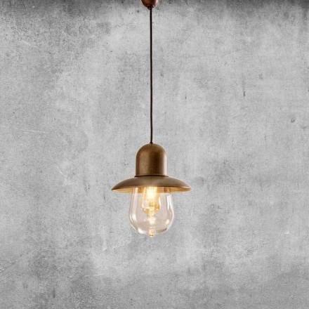Vintage závěsná lampa s mosazným reflektorem - Guinguette Aldo Bernardi