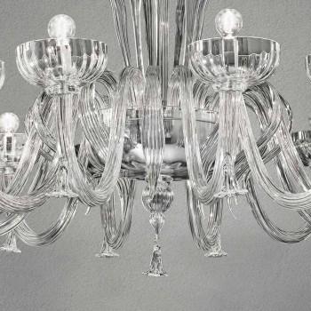 12 lehký ručně vyrobený lustr ze skla, vyrobený v Itálii - Regina